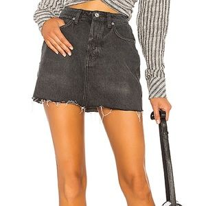 Free People Rugged A-line Denim Raw Hem Mini Skirt